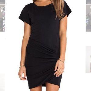 Theory Sunly Pima Cotton Black T-Shirt Dress, P/XS